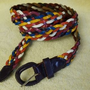 """MULTI Colors BRAIDED LEATHER 1"""" wide belt size 38"""